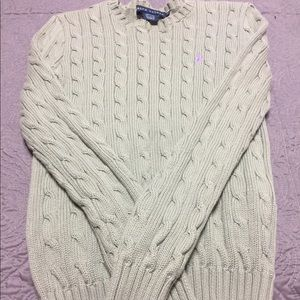 Green Ralph Lauren cable sweater. Size XS